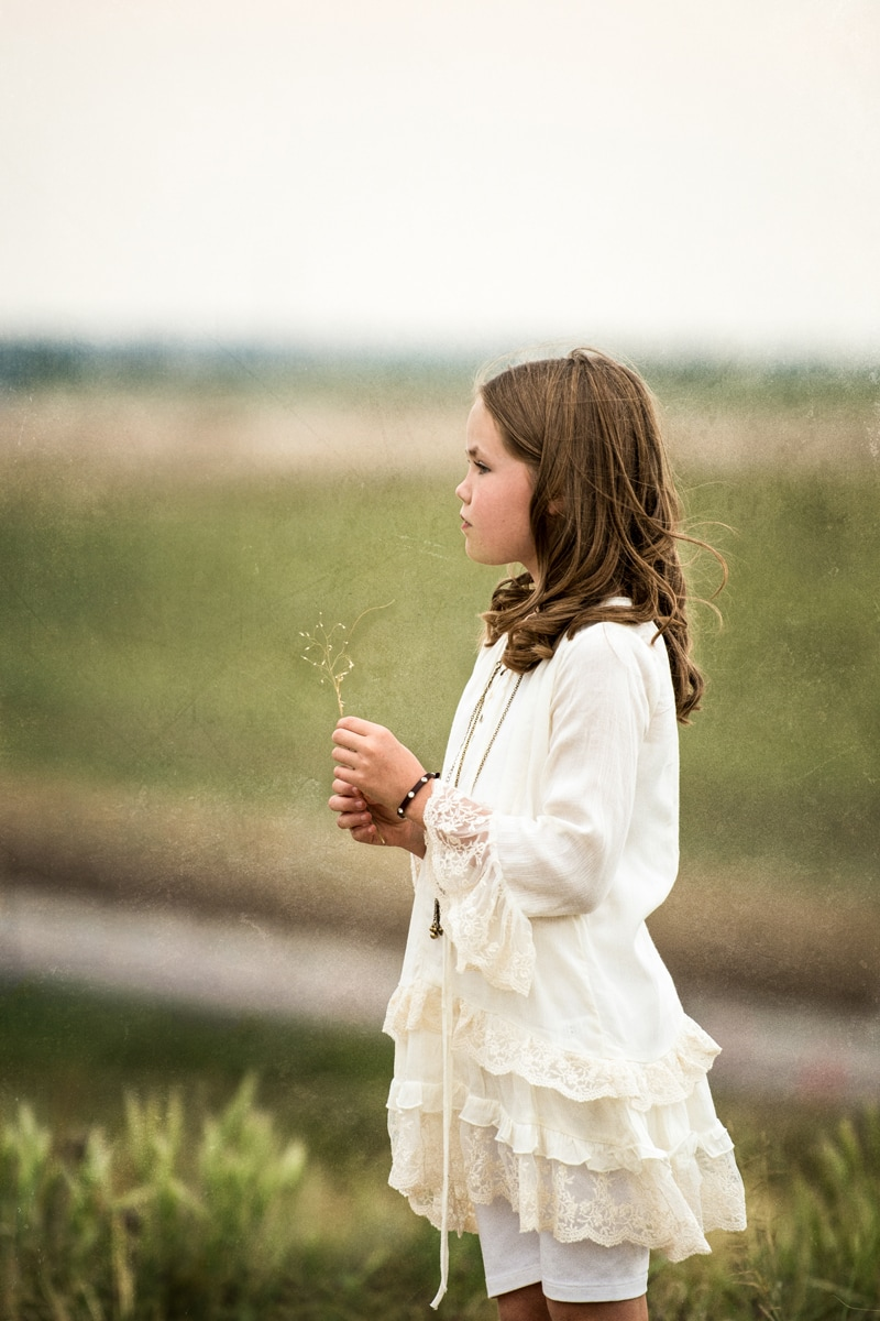 Denver Children's Photography, little girl holding a flower