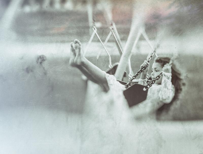 Denver Fine Art Photography, little girl on swing