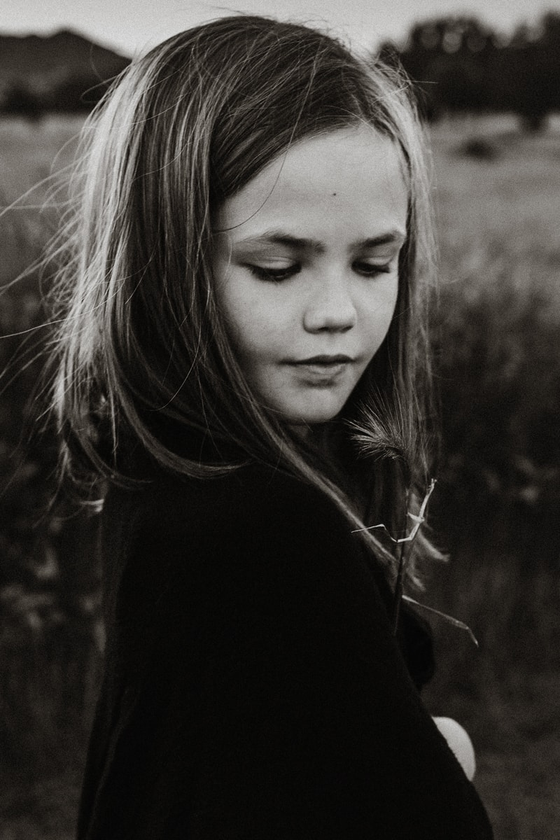 Denver Children's Photography, black and white of little girl with long hair