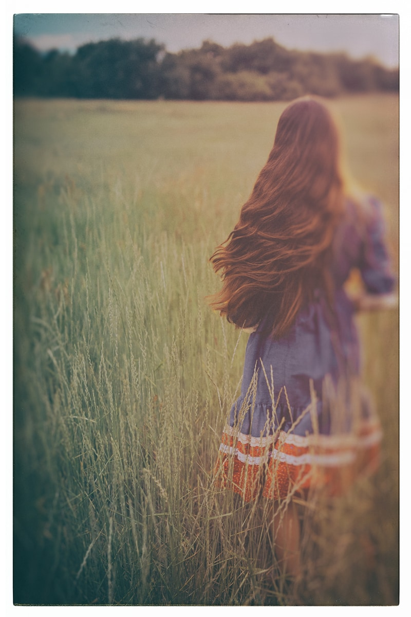 Denver Fine Art Photography, girl walking through a field