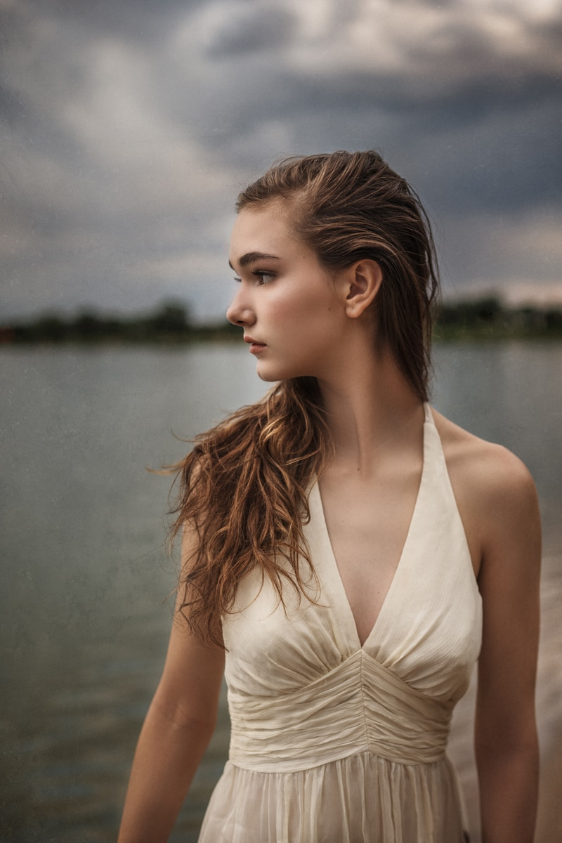 Denver Portrait Photography, girl in cream colored dress