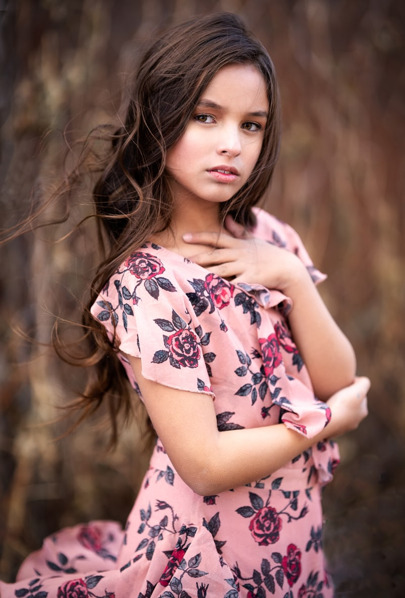 Denver Children's Photography, brunette girl with floral dress