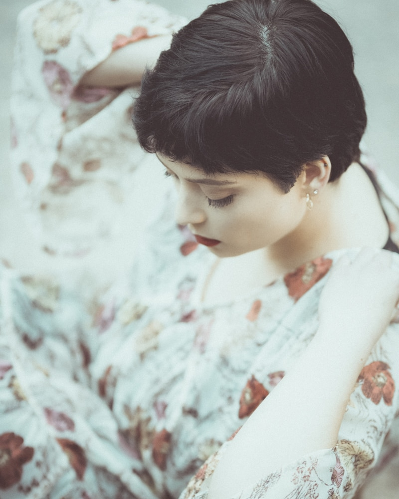 Denver Fine Art Photography, woman with short hair and floral dress