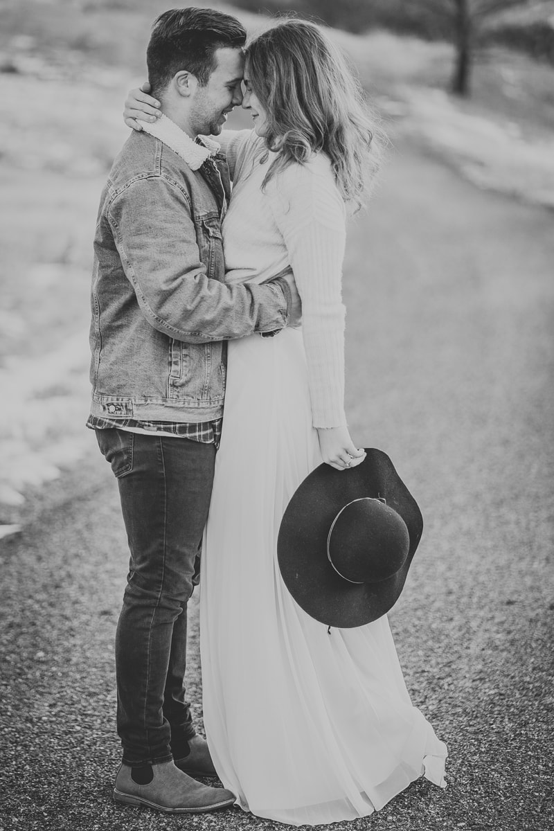 Denver Couples Photography, black and white of couple standing forehead to forehead