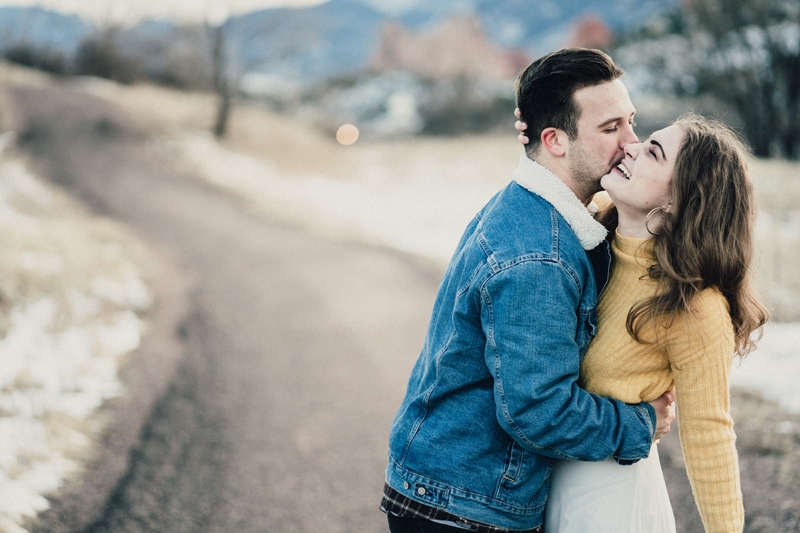 Denver Couples Photography, man kissing woman on her cheek