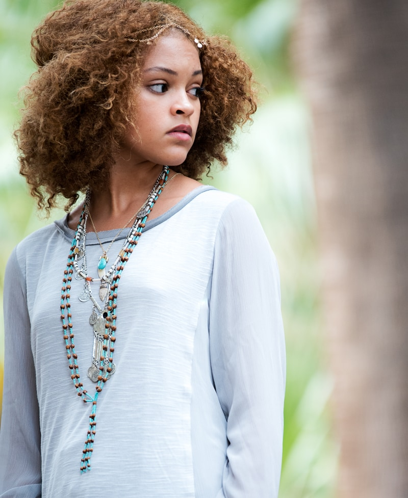 Denver Portrait Photography, girl in light blue top with layered necklaces