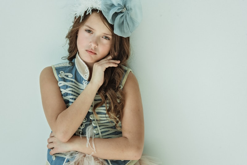 Denver Portrait Photography, girl in dress up blue and cream top