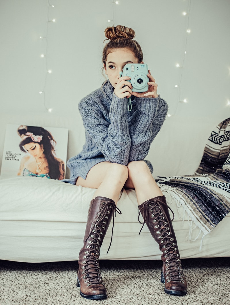 Denver Senior Photography, girl in boots and holding Polaroid camera