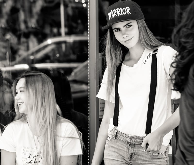 Denver Senior Photography, black and white of girl in suspenders and ball cap