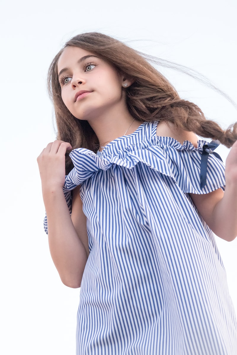 Denver Children's Photography, girl in striped blue and white dress
