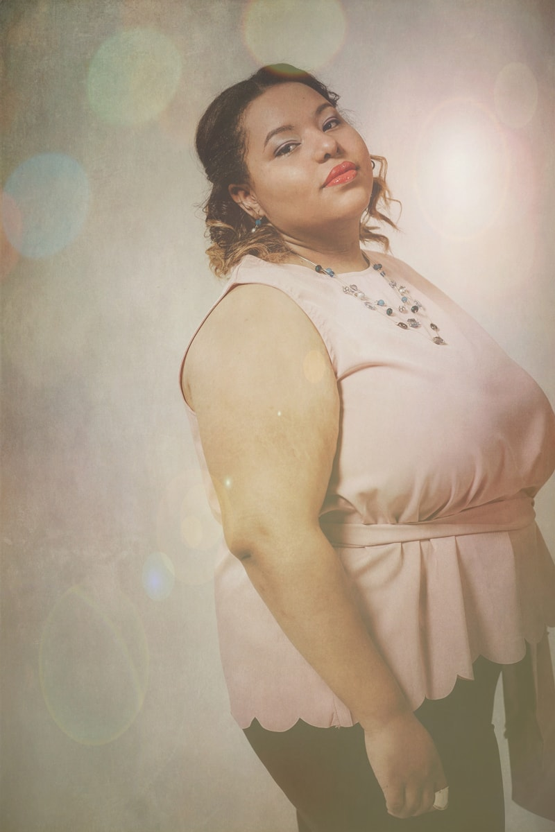 Denver Fine Art Photography, woman in pink top with layered necklaces