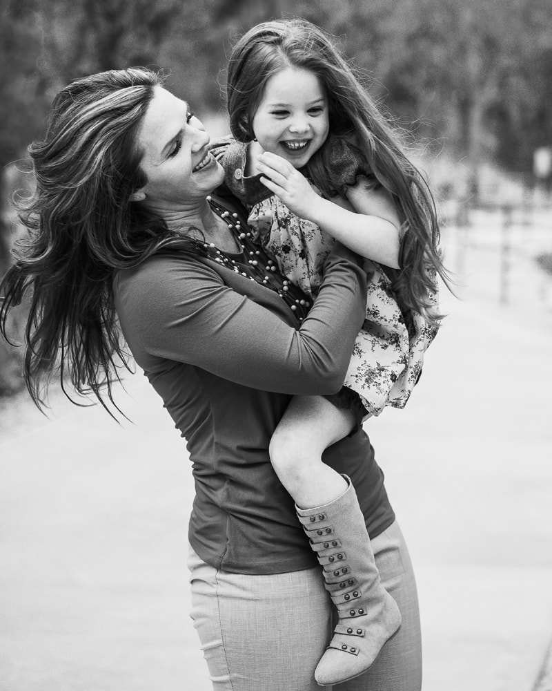 Denver Family Photography, black and white of mother and daughter