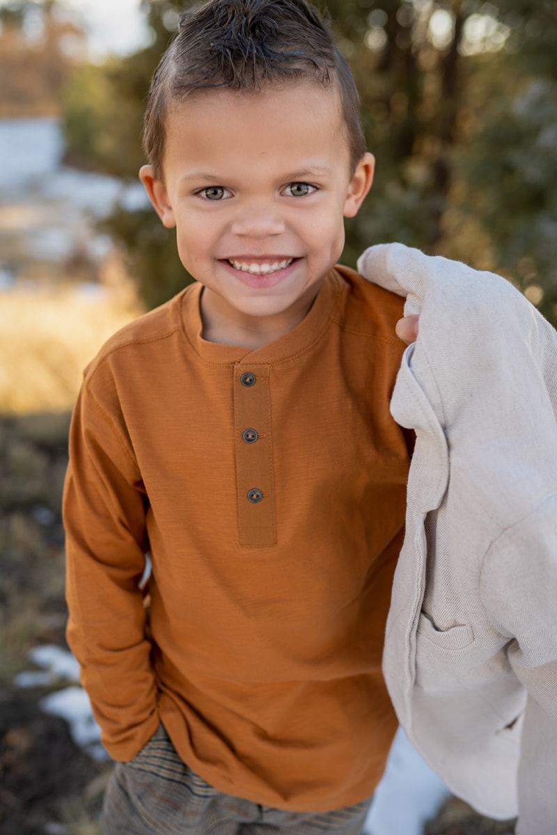 Denver Children's Photography, little boy in orange long sleeve shirt