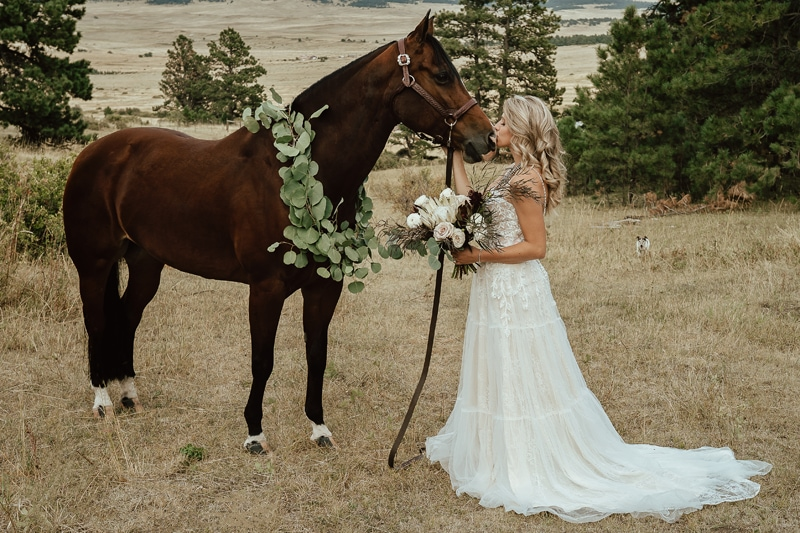 Denver Bridal Photography, bride kissing a horse on its nose