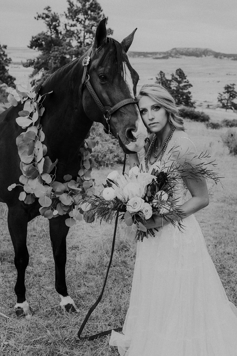 Denver Bridal Photography, black and white of woman with a horse