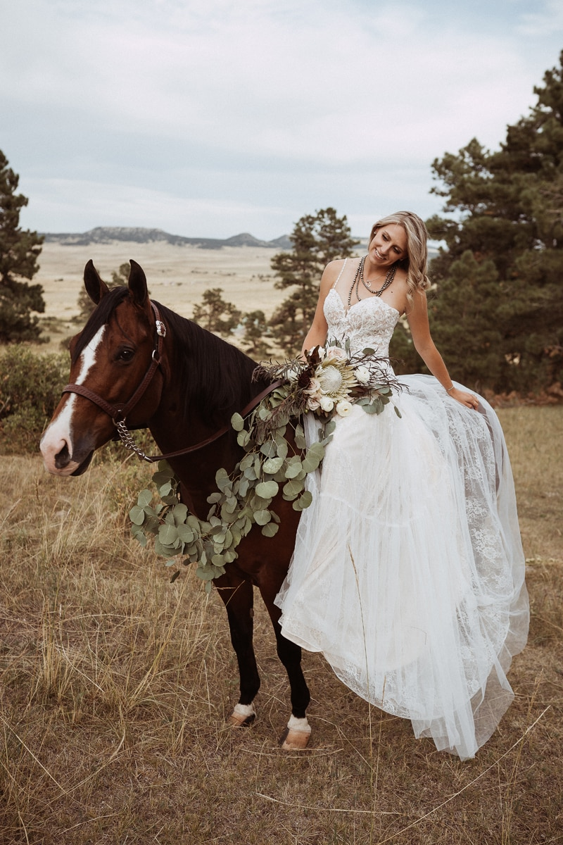 Denver Bridal Photography, bride sitting on top of a horse