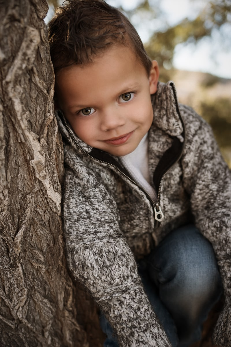 Denver Children's Photography, little boy leaning against a tree