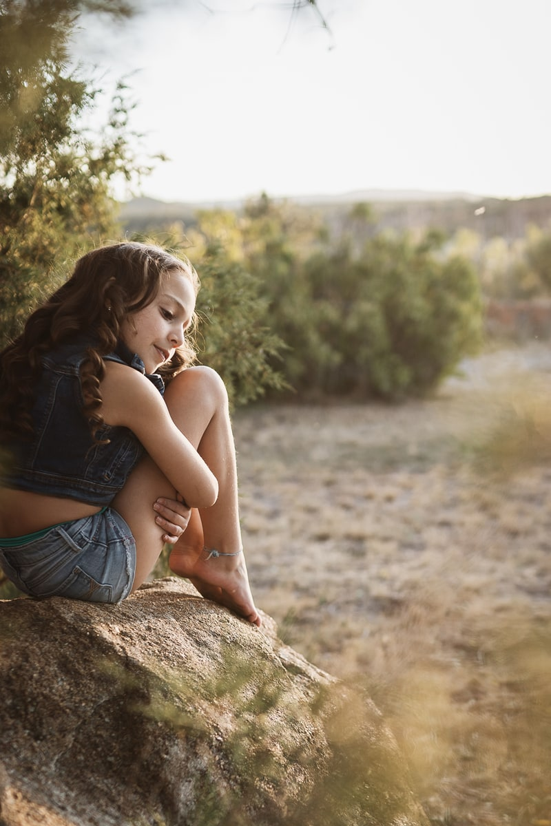 Denver Children's Photography, little girl sitting on a rock