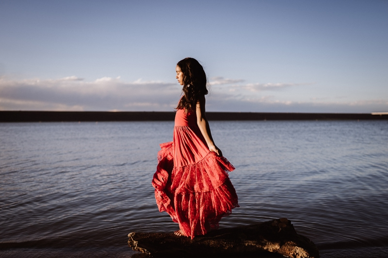 Denver Children's Photography, girl in red dress standing next to the lake