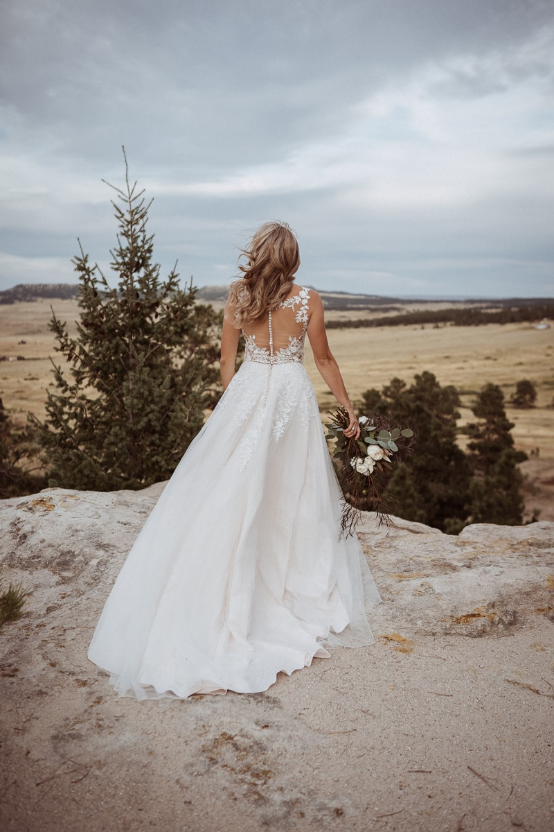 Denver Bridal Photography, bride with her back to the camera