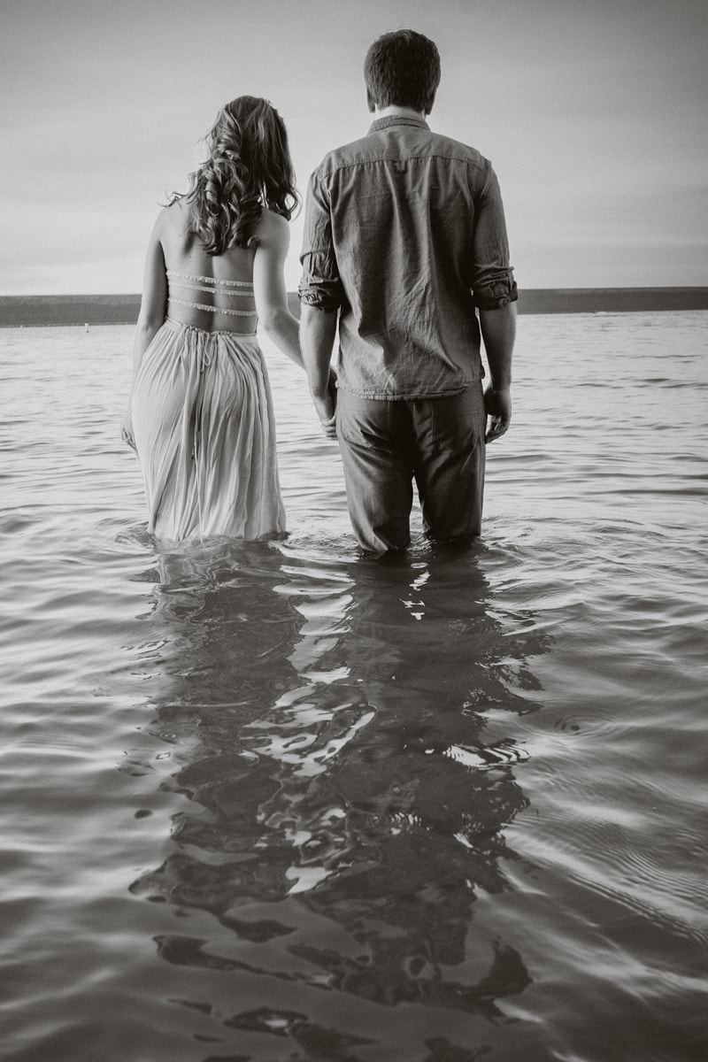 Denver Couples Photography, black and white of couple standing in water